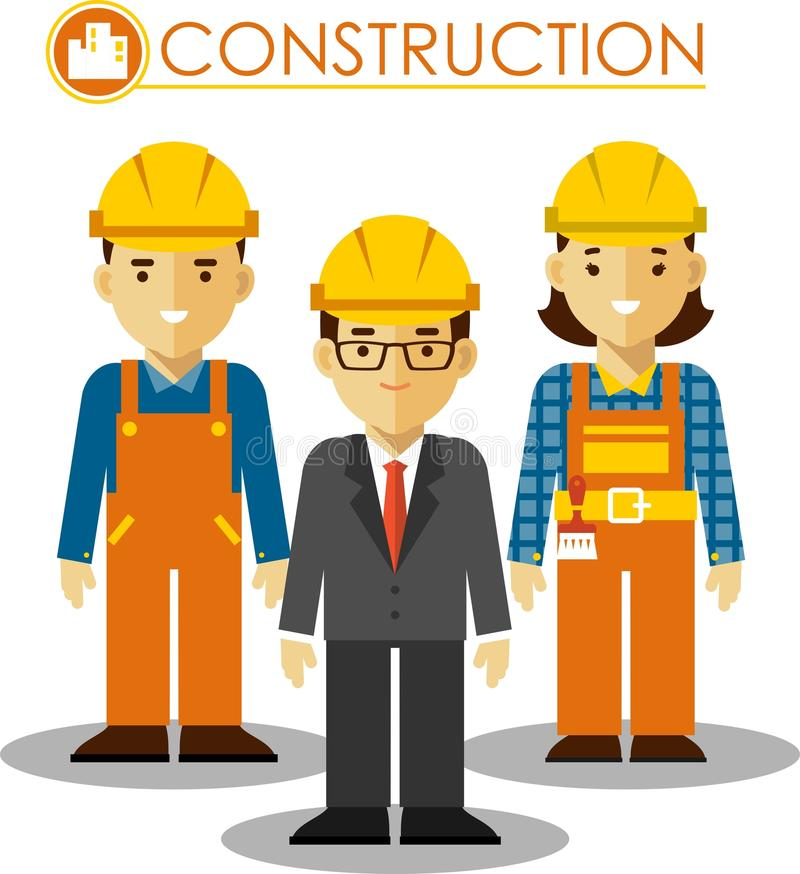 Set Builder Man Woman Flat Style Manager Worker Protective Wear Helmets Different Careers Team