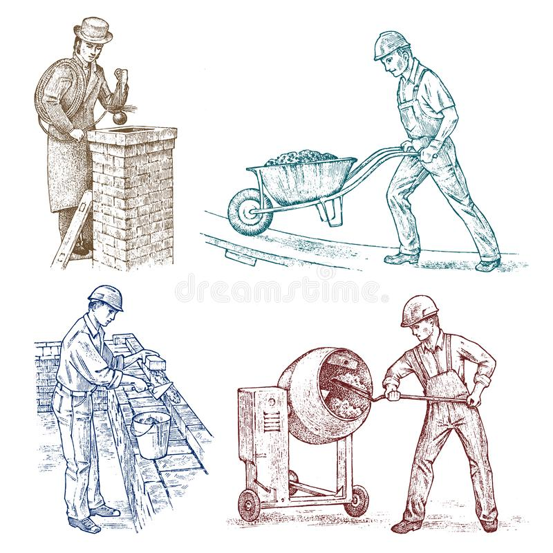 Set of Builders Technicians or Cement Engineers and Bricklayer in a helmet makes repairs. Construction worker man in royalty free illustration
