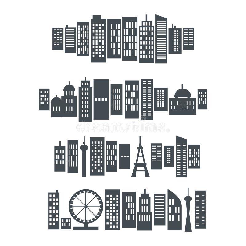 Set of building city logo design vector. Isolated on white background stock illustration