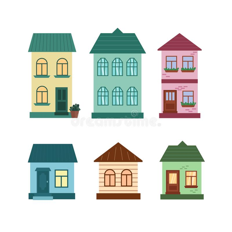Set of buildings the facade of houses is two-story and one-story stock illustration