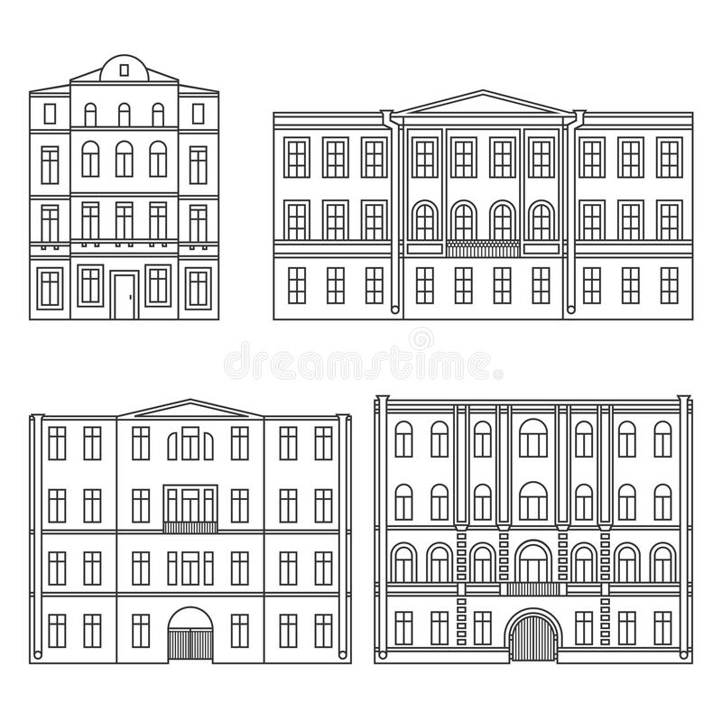 Set of buildings in the old town. Beautiful houses in the style of classicism. Ð¡ontour. Vector. EPS 8 stock illustration
