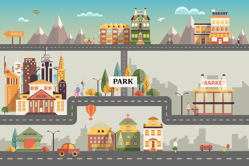 Set of buildings in the small business flat design stock illustration