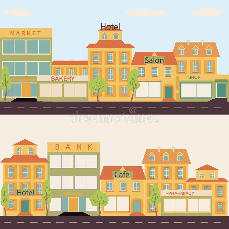 Set of buildings in the style small business flat design for Flat architecture design