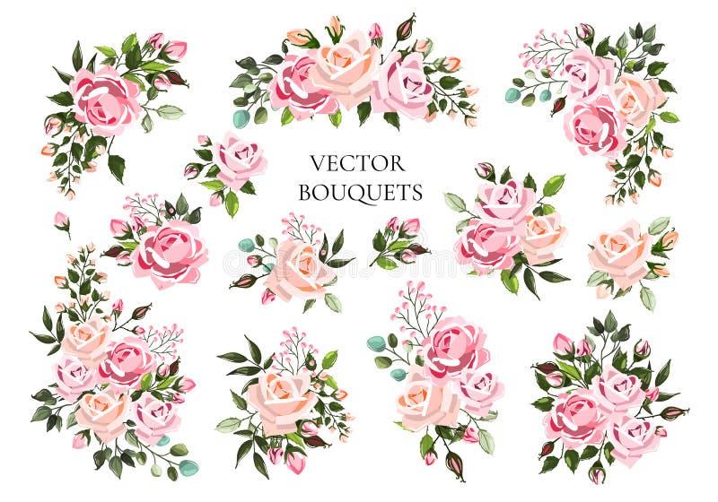 Set bukiety jasnoróżowi i brzoskwiniowe kwiat róże z zielonymi liśćmi royalty ilustracja