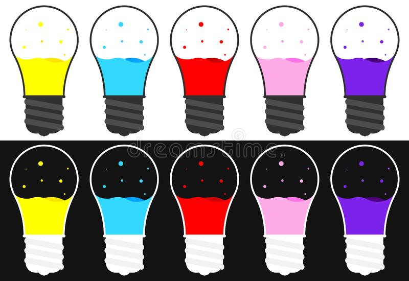 Set bulb icons design template, collection lava lamp E27, vector illustration. Set bulb icons design template, collection lava lamp E27, colorful for production stock illustration