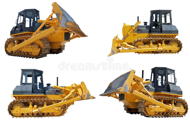 Set of bulldozers loaders stock images