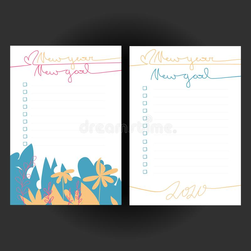 Set of bullet journal checklist blanks New Year New Goal. Two colorful doodle templates for 2020 year notebook, diary, planners. stock illustration