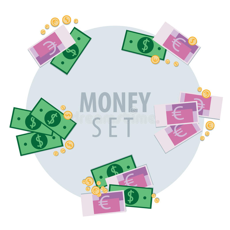 Set of bunches of money vector illustration