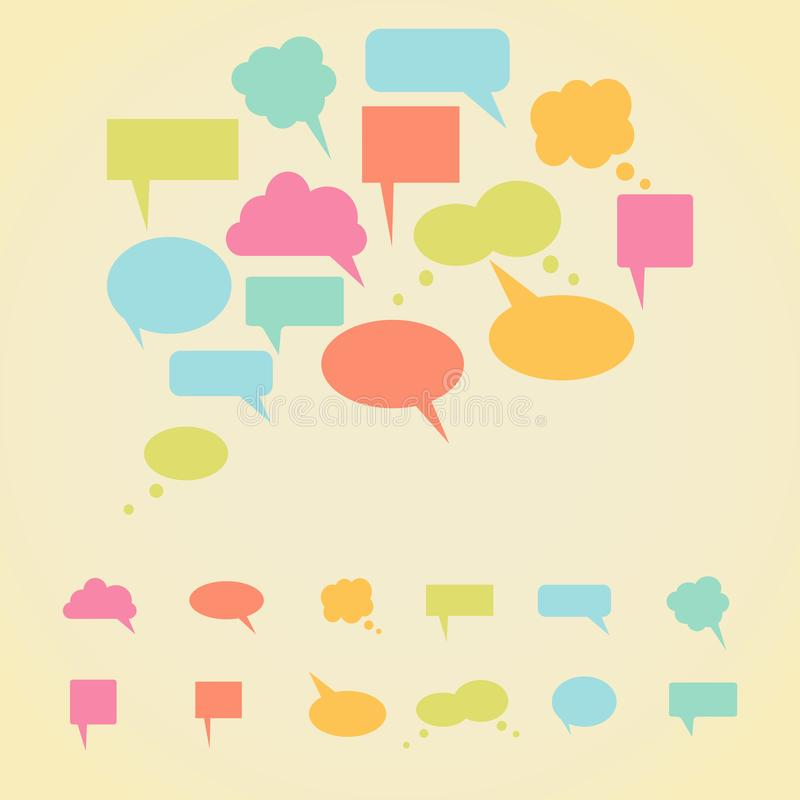 Set bunte Spracheluftblasen lizenzfreie abbildung