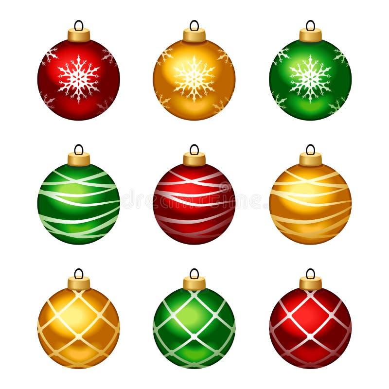 Set bunte Weihnachtskugeln Auch im corel abgehobenen Betrag stock abbildung