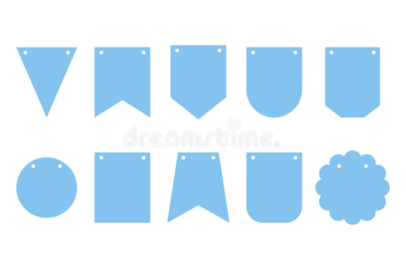 Set of bunting banners. Frames for party. Happy birthday. Decorations for carnavail. vector illustration