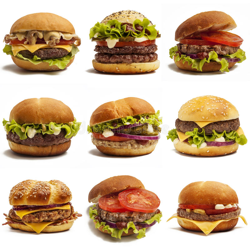 Set of burgers royalty free stock images