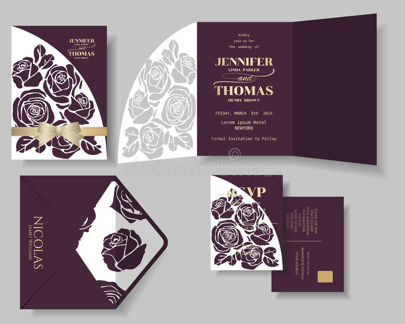 Set of Burgundy Rose Laser Cut with Golden Ribbon Wedding Invitation Card. vector illustration