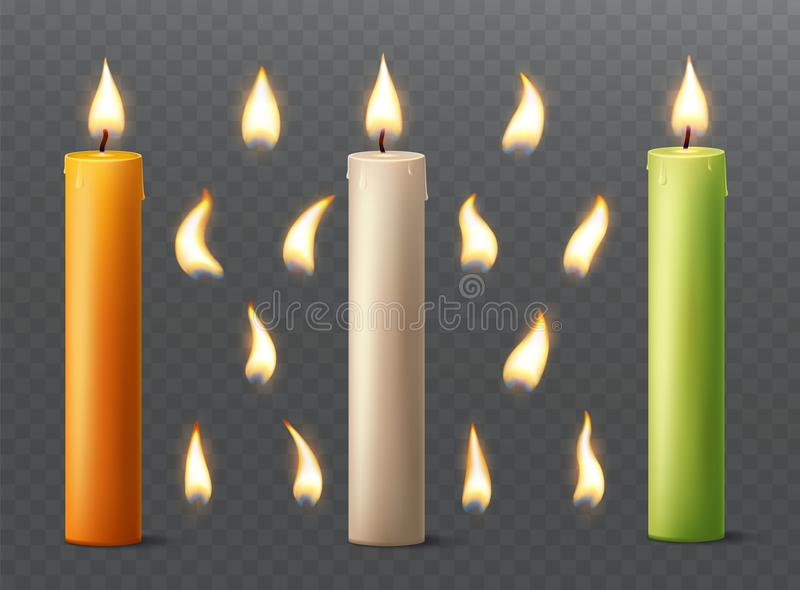 Set of burning candles with different flames. Vanilla, orange and green paraffin or wax on transparent background. royalty free illustration