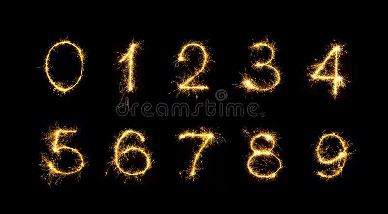 Set of Burning sparkler Numbers vector illustration