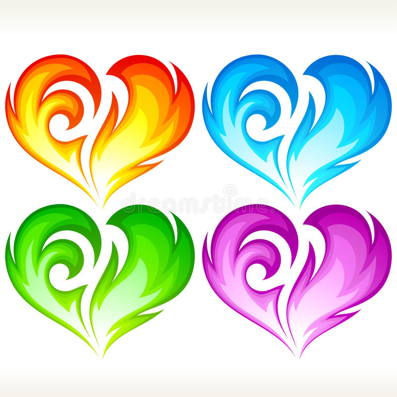 Set Of Burning Vector Hearts Stock Photography