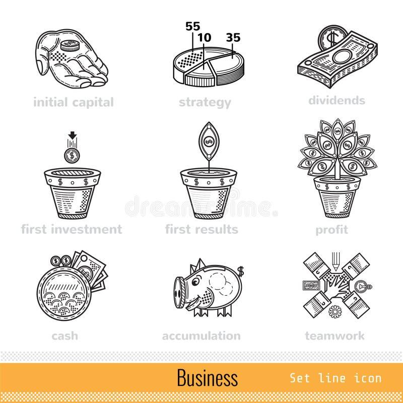 Set of Busines Outline Web Icons royalty free illustration