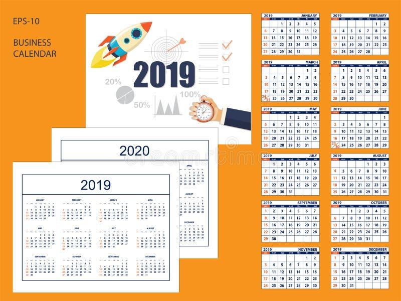 Set business american calendar for desk 2019, 2020 royalty free illustration