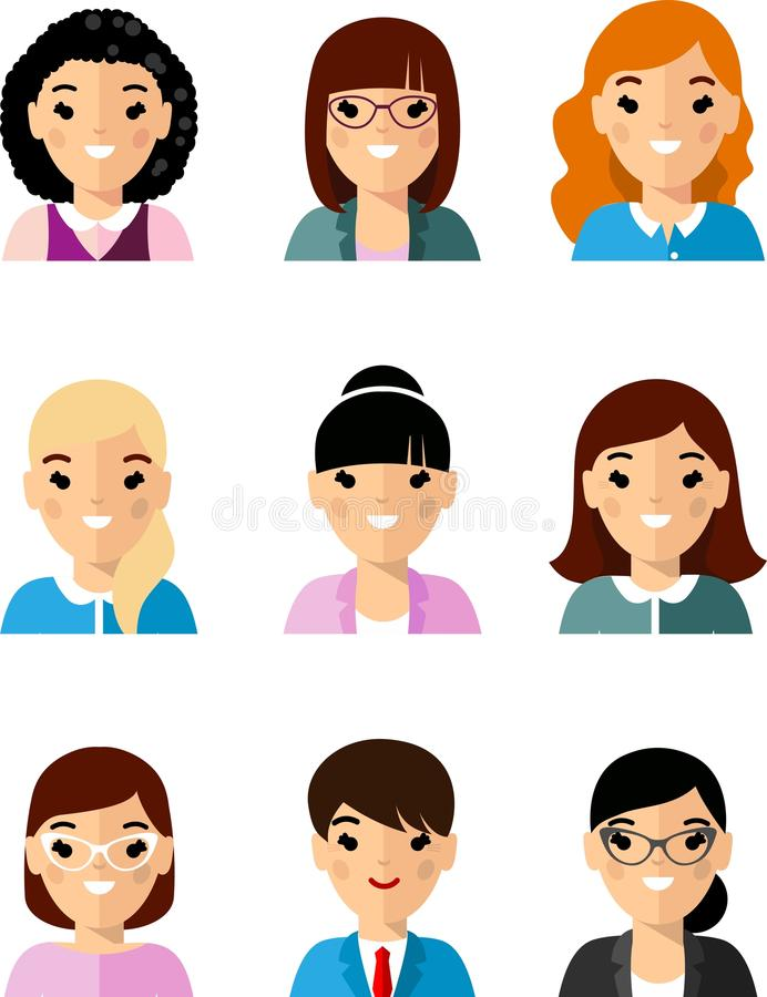 Set of business avatar european peoples in flat colorful style stock illustration
