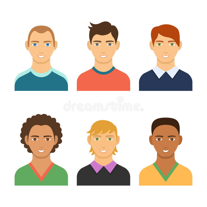 Set of business avatar peoples in flat colorful style. stock illustration