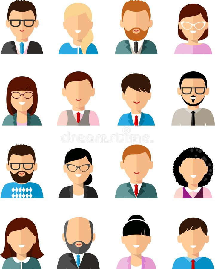 Set of business avatar peoples in flat colorful style stock illustration