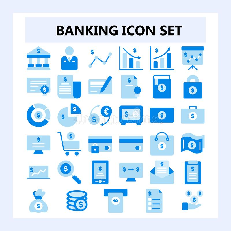 Set of 30 Business, Banking and Finance Icon in Flat style Dual tone color, vector illustration