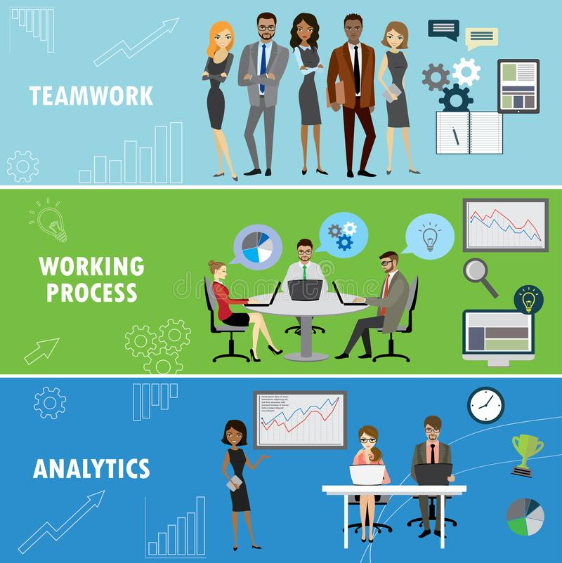Set business banner. Office work team creative planning strategy and analytic results .Vector illustration royalty free illustration