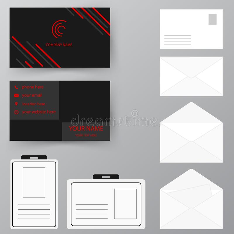 Set Of Business Card With Envelope And Badge. Personal Style Col ...