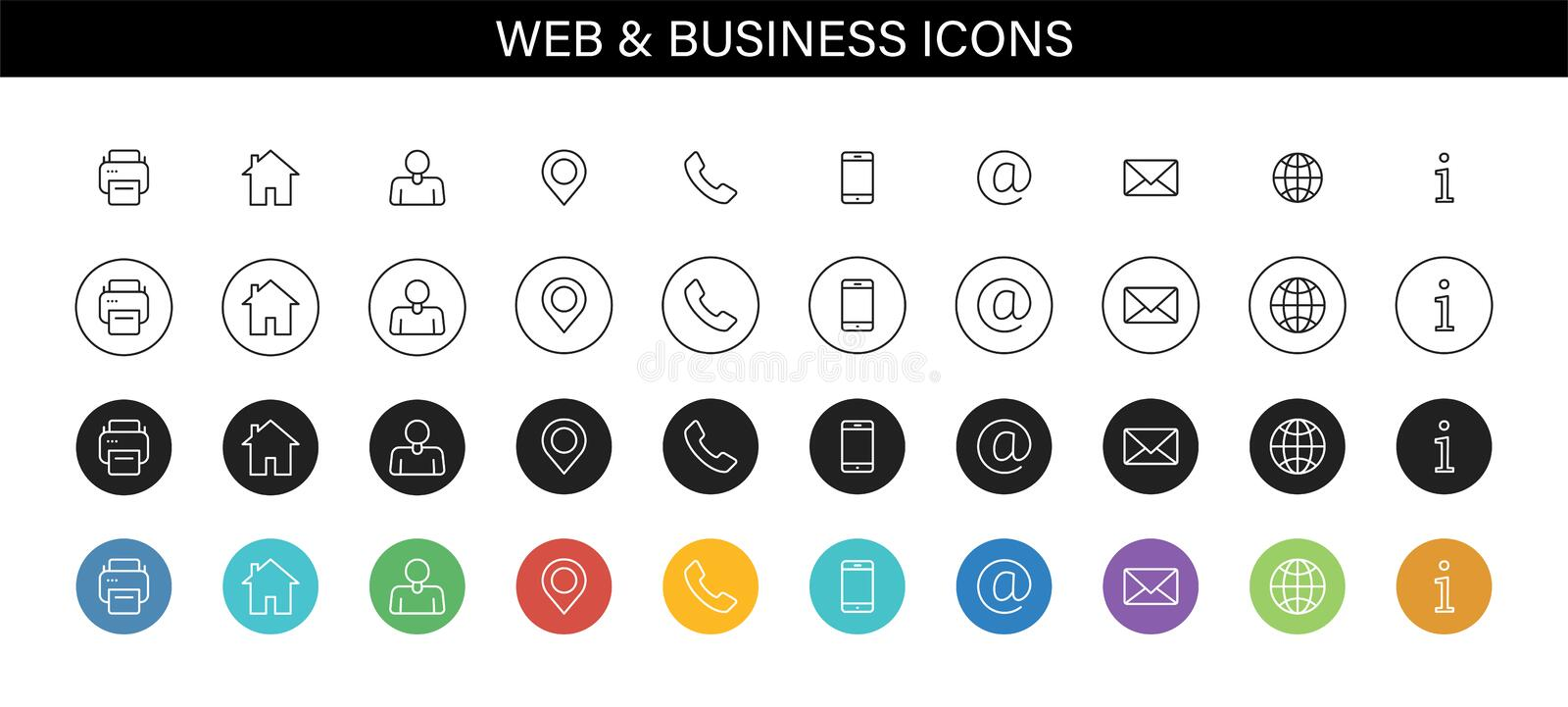 Set of Business Card icons. Name, phone, mobile, location, place, mail, fax, web. Contact us, information, communication. Vector vector illustration