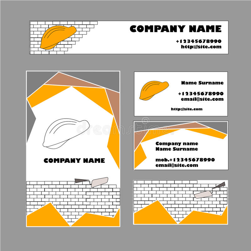 Set Of Business Card Template For Construction Business Stock - Construction business card template