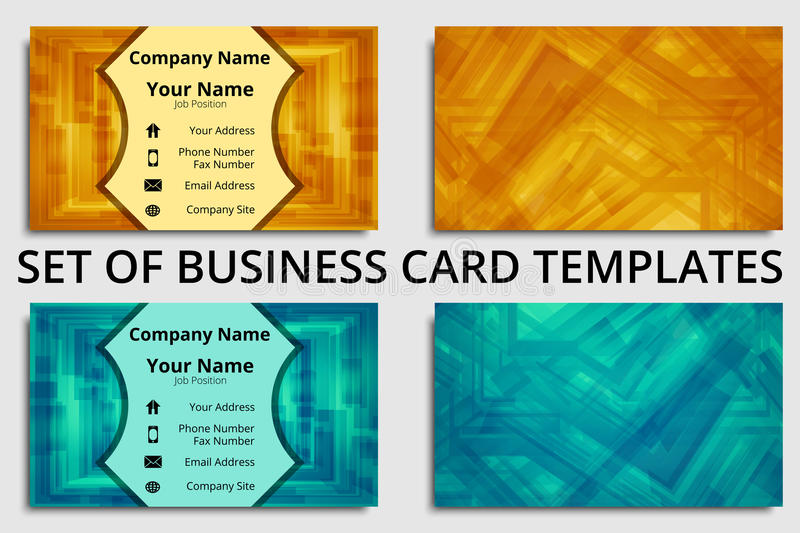 Set of business cards with abstract design in blue, green, orange, and yellow shades stock illustration