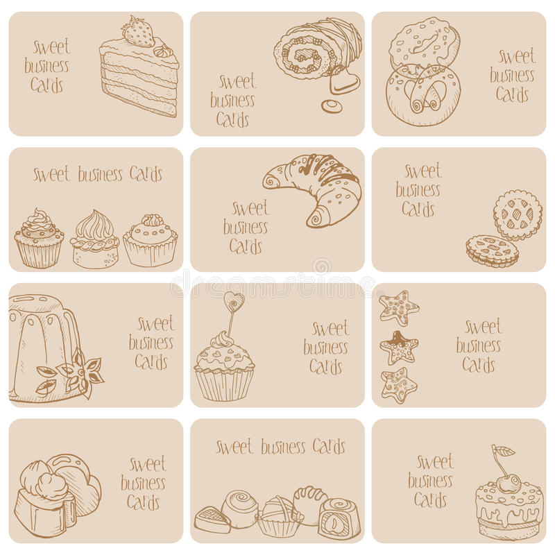 Set of Business Cards - Cakes, Sweets and Desserts stock illustration