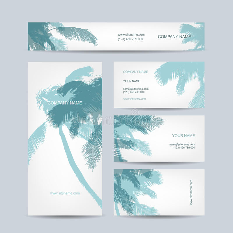Set of business cards design palm tree stock vector illustration download set of business cards design palm tree stock vector illustration of cartoon colourmoves