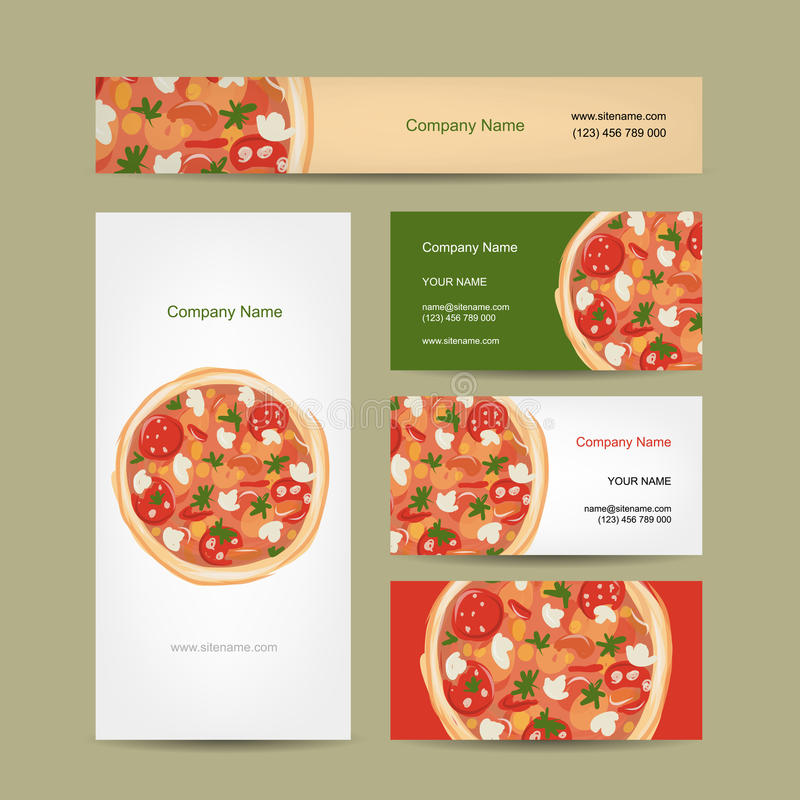Set Of Business Cards Design With Pizza Stock Vector - Image: 43996216