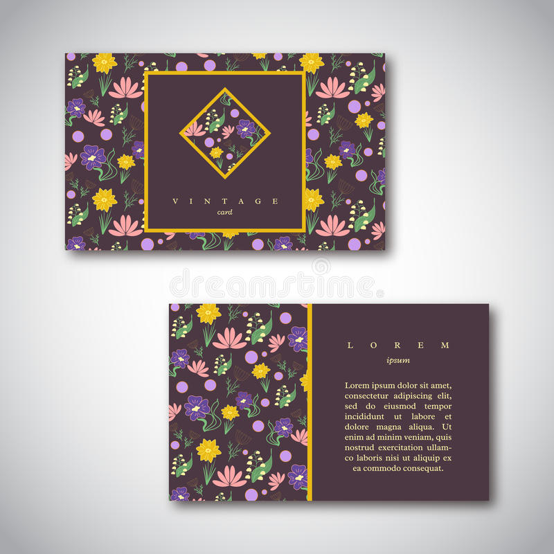 Set of business cards with floral pattern. Vintage card template royalty free illustration