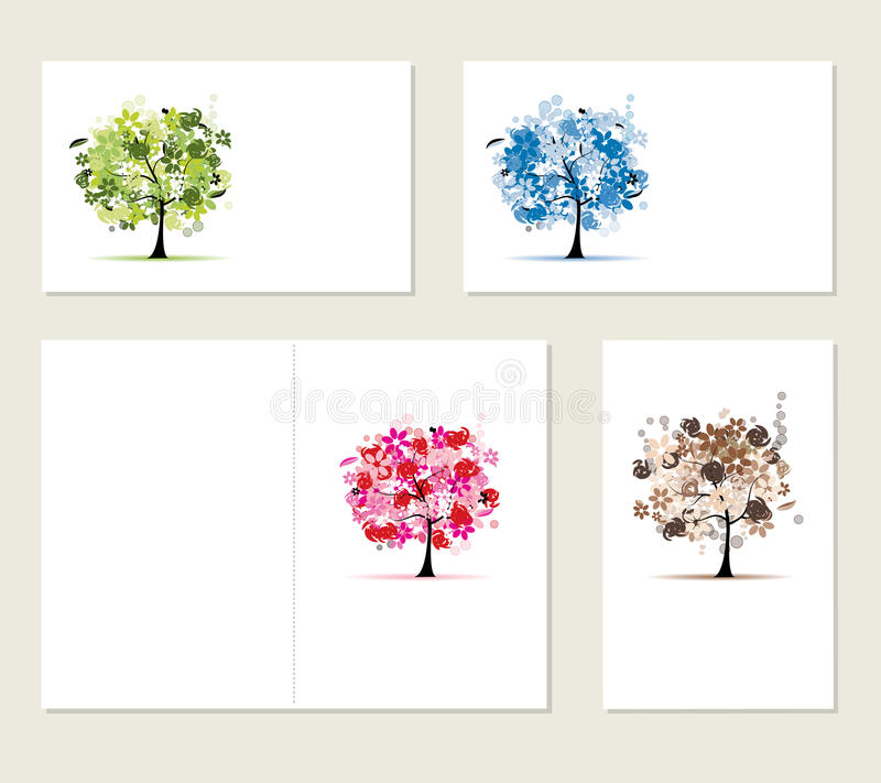 Set of business cards, floral trees stock images