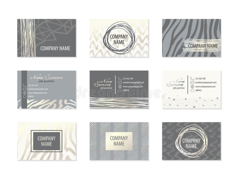 Download Set Of Business Cards With Hand Drawn Elements Stock Vector - Image: 83717096