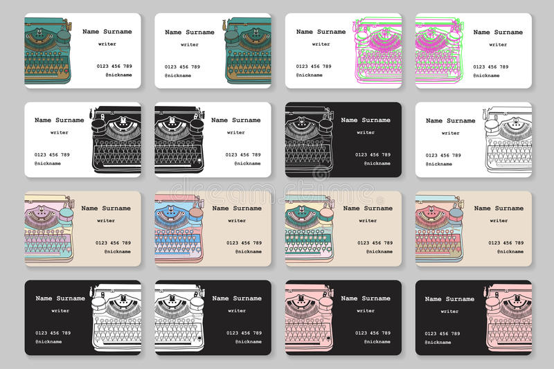 Set of business cards with hand drawn vintage typewriter stock illustration