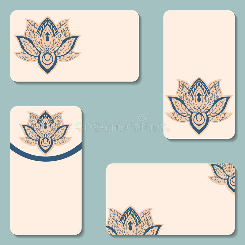 Set Of Business Cards With Lotuses. Beauty Designs. Vector Vinta ...