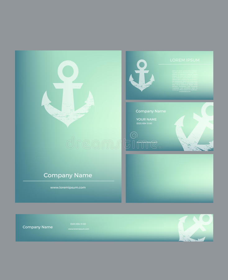 Set Of Business Cards In Marine Style Stock Illustration ...