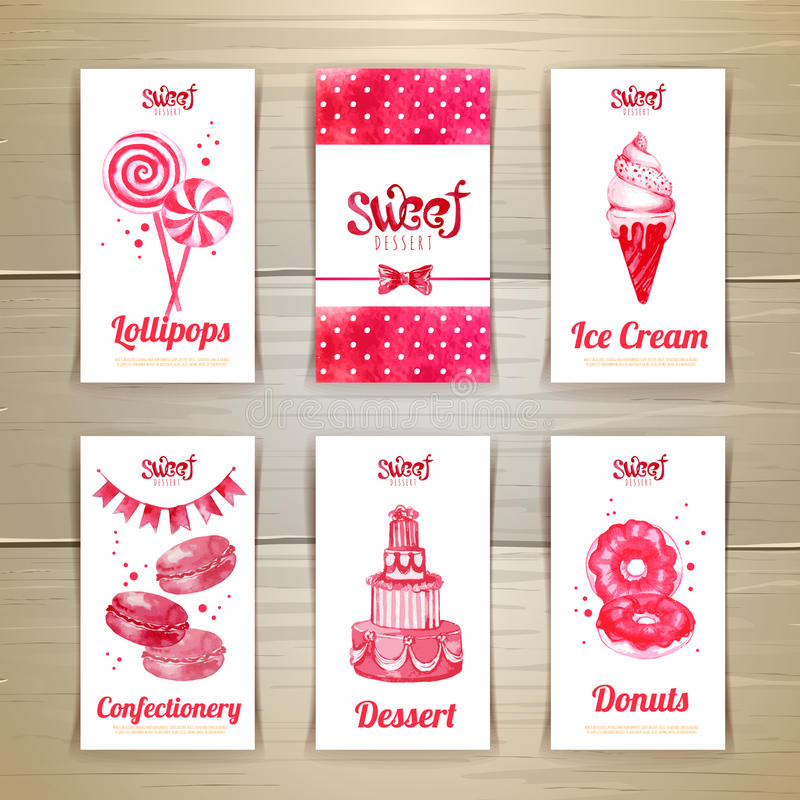Set of business cards with sweets royalty free illustration