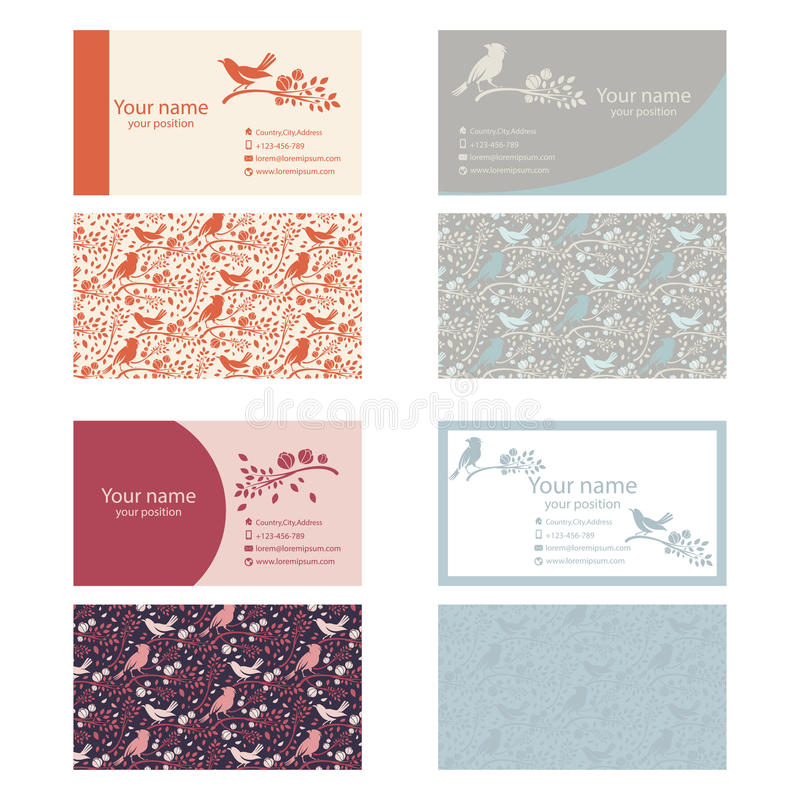 Set of business cards template nature themes with birdsbr stock download set of business cards template nature themes with birdsbr stock vector reheart Images