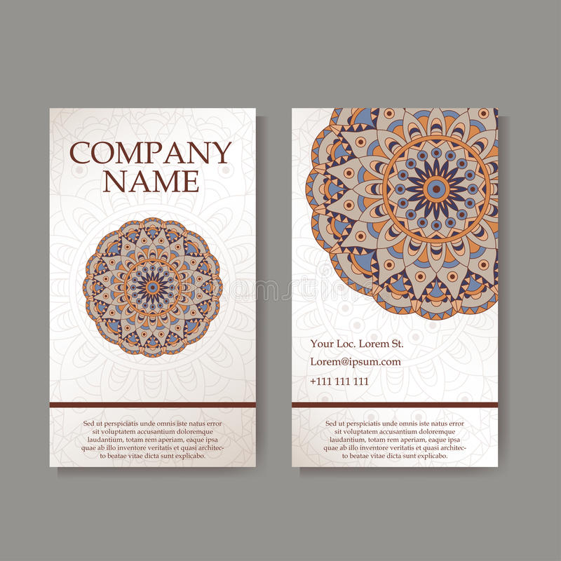 Set of business cards. Vintage pattern in retro style with mandala. Hand drawn Islam, Arabic, Indian, lace pattern royalty free illustration