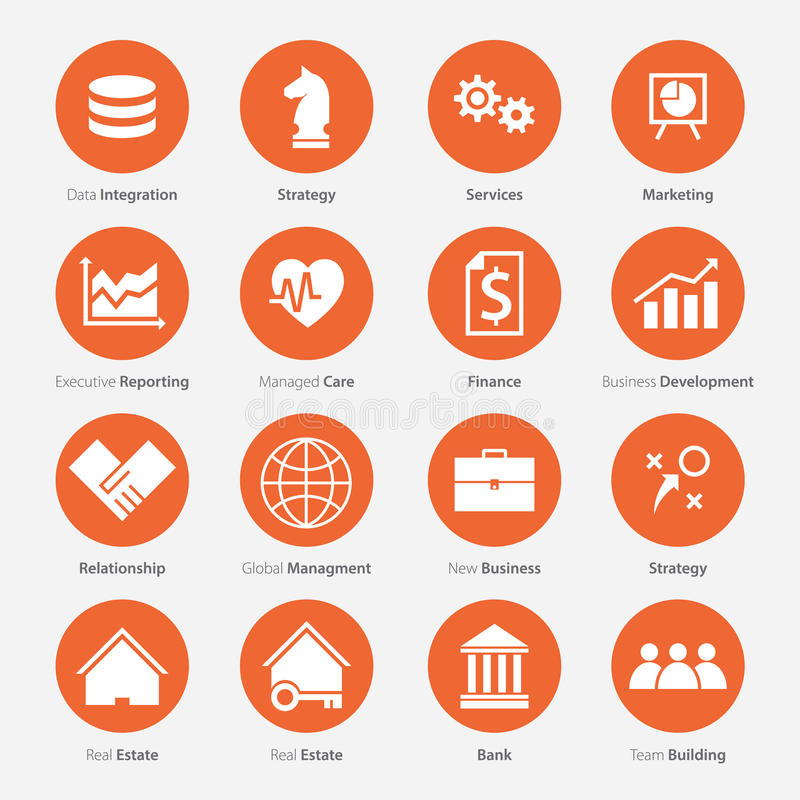 Set of Business Career Icon in Flat Design royalty free illustration