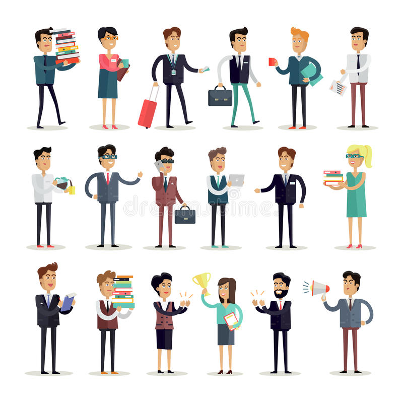 Character Design Job Offer : Set of business characters vector in flat design stock