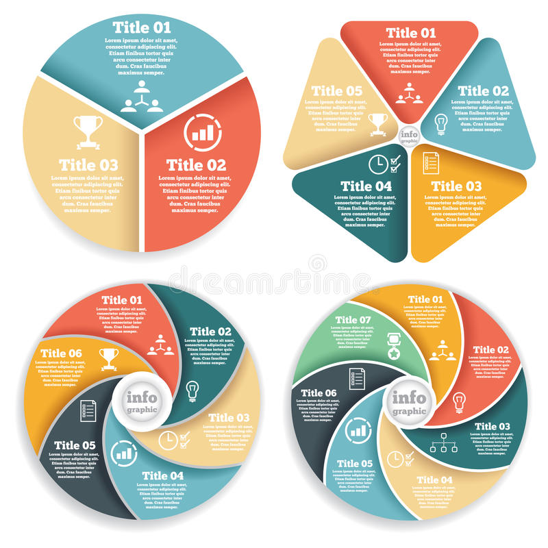 Set of business circle info graphic, diagram stock illustration