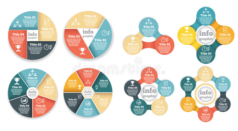 Set of business circle info graphic, diagram vector illustration
