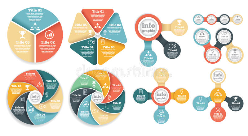 Set of business circle info graphic, diagram royalty free illustration