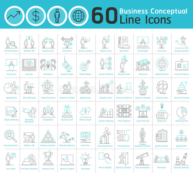 Set of business conceptual thin line icons collection. stock illustration