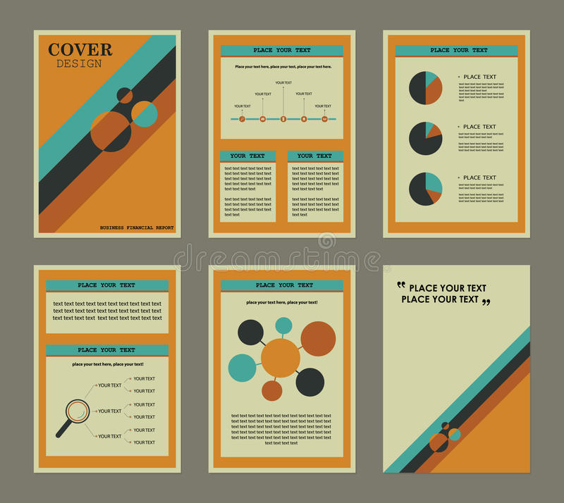 download set of business financial report book cover and page stock vector illustration of
